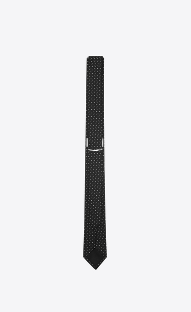 SAINT LAURENT Skinny Ties U Narrow tie with white polka dots on black silk. b_V4
