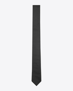 SAINT LAURENT Classic Ties U Striped tie in black and gray silk f