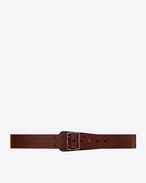 SAINT LAURENT 클래식 벨트 U HUBLOT military-style buckle belt in brown leather f