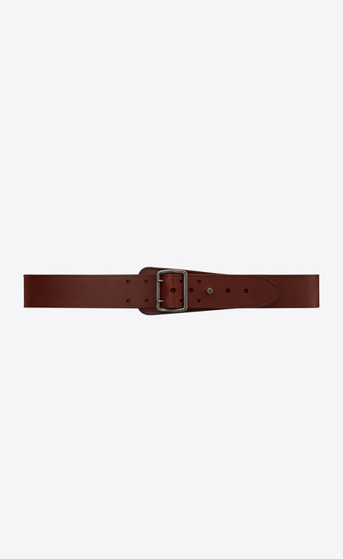 SAINT LAURENT Classic Belts Man HUBLOT military-style buckle belt in brown leather a_V4
