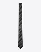 SAINT LAURENT Skinny Ties U Narrow tie with IKAT brush motifs in black and light gray silk f