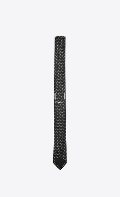 SAINT LAURENT Skinny Ties U Narrow tie with Y motifs in black and ivory silk b_V4