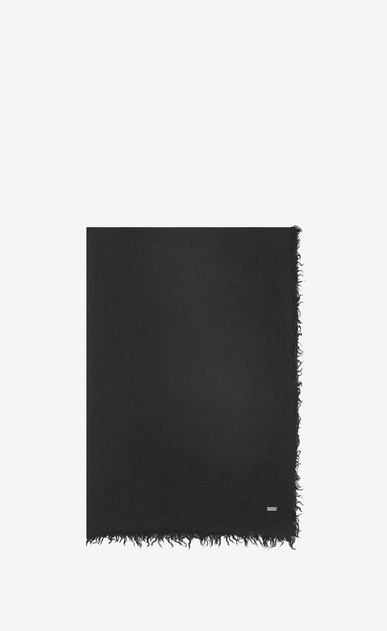 SAINT LAURENT Large scarves U Washed Pashmina stole in black cashmere and silk a_V4