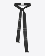 SAINT LAURENT 라발리에르 U Patterned ascot scarf in black and silk shantung f