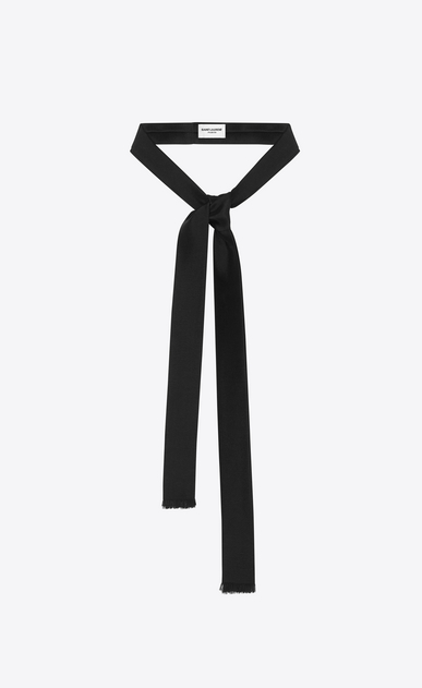 SAINT LAURENT Lavallière U Ascot scarf in black silk shantung a_V4