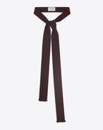 SAINT LAURENT Lavallière U Ascot scarf with Y motifs in black and red crepe de chine f