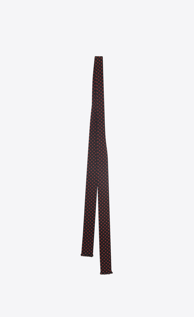 SAINT LAURENT Lavallière U Ascot scarf with Y motifs in black and red crepe de chine b_V4