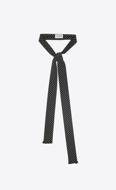SAINT LAURENT Lavallière U Dotted ascot scarf in black and ivory crepe de chine   a_V4