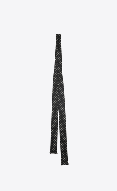 SAINT LAURENT Lavallière Man dotted ascot scarf in black and ivory crepe de chine b_V4