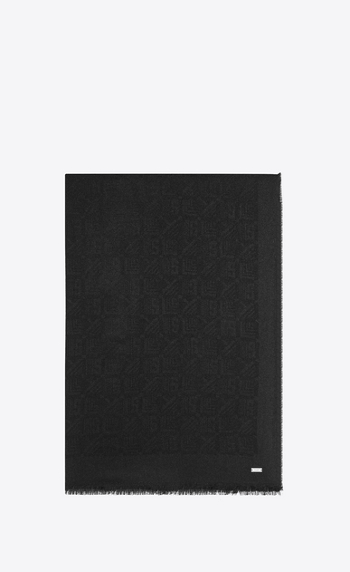 SAINT LAURENT Large scarves Man stole with y, s, l print in black wool and silk jacquard a_V4