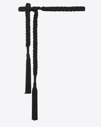 SAINT LAURENT Classic Belts U MONOGRAMME woven belt in black wool f