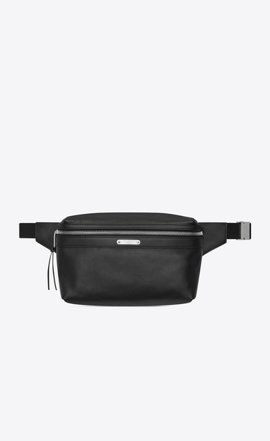 SAINT LAURENT Belt Bags Man CITY belt bag in black leather a_V4