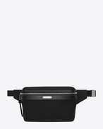 SAINT LAURENT Belt Bags U CITY belt bag in canvas and soft black leather f
