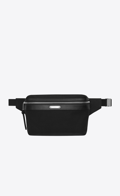 SAINT LAURENT Belt Bags U CITY belt bag in canvas and soft black leather a_V4