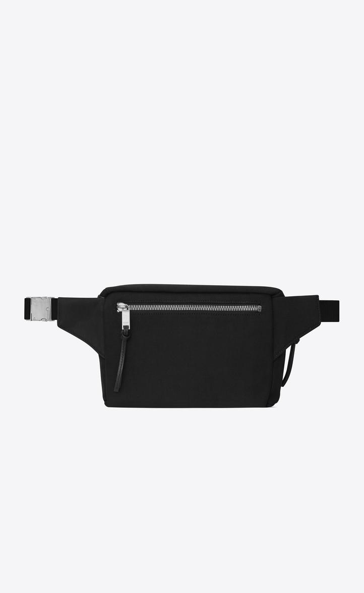 Saint Laurent City Belt Bag In Canvas And Soft Black