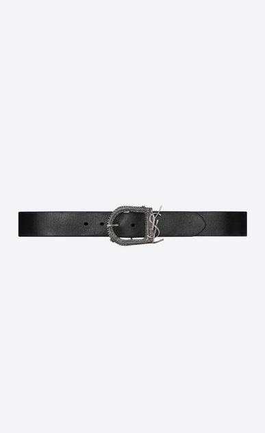 SAINT LAURENT Classic Belts U MONOGRAMME BERBERE belt in black leather a_V4