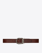 SAINT LAURENT Classic Belts U MONOGRAMME BERBERE belt in dark brown leather  f