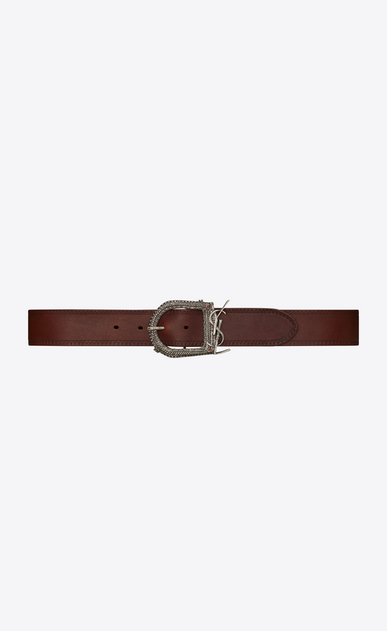 SAINT LAURENT Classic Belts U MONOGRAMME BERBERE belt in dark brown leather  a_V4