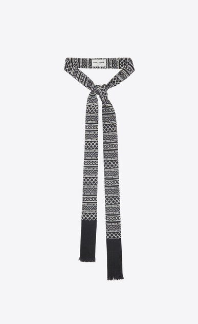 SAINT LAURENT Lavallière Man Marrakesh ascot scarf in black and ivory etamine a_V4