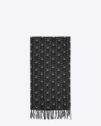 SAINT LAURENT Large scarves U IKAT stole in black and ivory etamine f