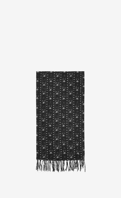 SAINT LAURENT Large scarves Man IKAT stole in black and ivory etamine a_V4