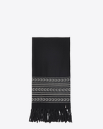 SAINT LAURENT Large scarves U IKAT stole in black and ivory wool and cotton jacquard f