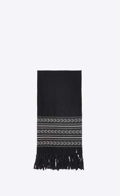 SAINT LAURENT Large scarves U IKAT stole in black and ivory wool and cotton jacquard a_V4