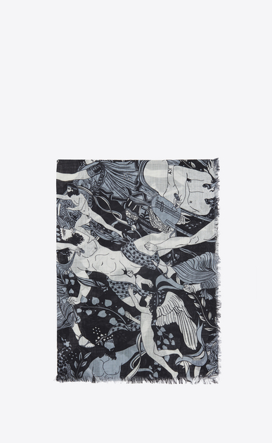 SAINT LAURENT Large scarves U Stole with Antique Greece print in black and gray etamine a_V4