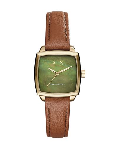 GREEN STONE LEATHER BAND WATCH
