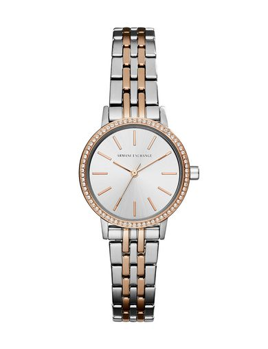 SMALL RHINESTONE ROSE GOLD AND SILVER-TONE WATCH