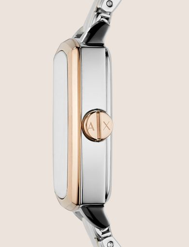 SQUARE ROSE GOLD AND SILVER-TONE BRACELET WATCH