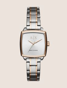 ARMANI EXCHANGE SQUARE ROSE GOLD AND SILVER-TONE BRACELET WATCH Watch Woman f