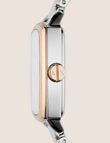 ARMANI EXCHANGE SQUARE ROSE GOLD AND SILVER-TONE BRACELET WATCH Watch Woman r