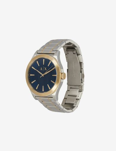 BLUE DIAL GOLD AND SILVER-TONE WATCH