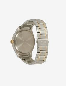 ARMANI EXCHANGE BLUE DIAL GOLD AND SILVER-TONE WATCH Fashion Watch [*** pickupInStoreShippingNotGuaranteed_info ***] d