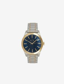 ARMANI EXCHANGE BLUE DIAL GOLD AND SILVER-TONE WATCH Fashion Watch [*** pickupInStoreShippingNotGuaranteed_info ***] f