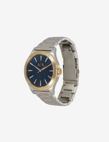 ARMANI EXCHANGE BLUE DIAL GOLD AND SILVER-TONE WATCH Fashion Watch [*** pickupInStoreShippingNotGuaranteed_info ***] r