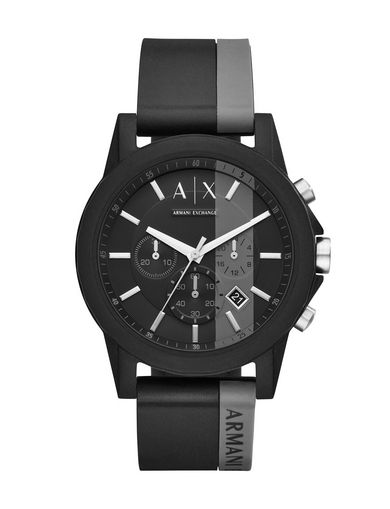 BLACK CHRONO SILICONE BAND WATCH
