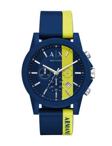 BLUE CHRONO SILICONE BAND WATCH
