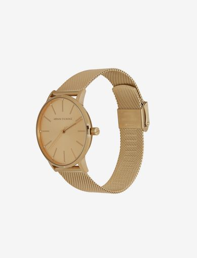 GOLD-TONE MESH BRACELET WATCH