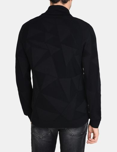 GEOMETRIC INTARSIA SHAWL-COLLAR SWEATER
