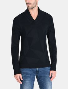 ARMANI EXCHANGE GEOMETRIC INTARSIA SHAWL-COLLAR SWEATER Pullover Man f