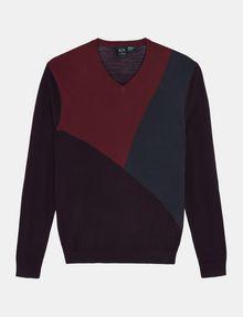 ARMANI EXCHANGE COLORBLOCK MERINO V-NECK SWEATER Pullover Man b