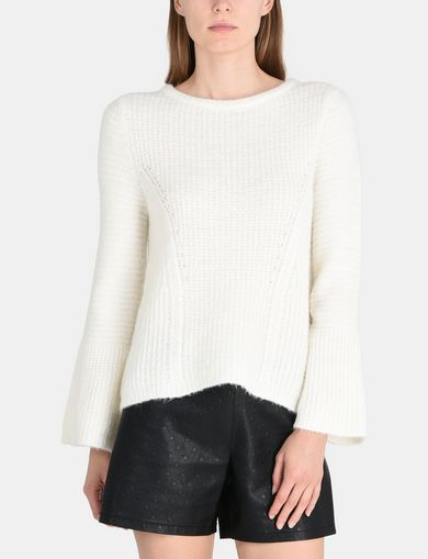 TEXTURED BELL-SLEEVE MOHAIR SWEATER