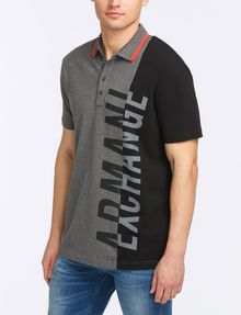 ARMANI EXCHANGE VERTICAL PIECED LOGO POLO SHORT SLEEVES POLO [*** pickupInStoreShippingNotGuaranteed_info ***] d