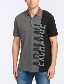 ARMANI EXCHANGE VERTICAL PIECED LOGO POLO SHORT SLEEVES POLO [*** pickupInStoreShippingNotGuaranteed_info ***] f