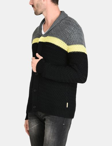 COLORBLOCK SHAWL COLLAR CARDIGAN