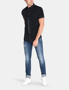 ARMANI EXCHANGE SLIM-FIT SATIN PLACKET SHORT-SLEEVE SHIRT Short sleeve shirt Man a