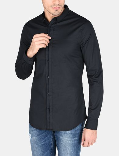 SLIM-FIT GROSGRAIN PLACKET SHIRT