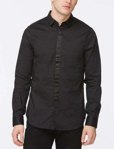 SLIM-FIT SATIN PLACKET SHIRT